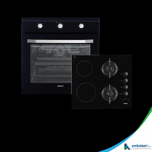 Ensemble four et plaque de cuisson vitrocéramique, Gaz BEKO BSE 24130B