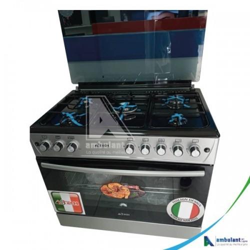 Cuisinière à gaz 5 feux 90/60 ASTECH AST60GN Gris-noir